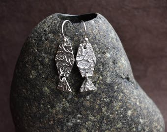 Fine Silver Textured Earrings with Triangle Dangle