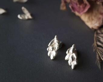 Flower Silver Earrings, Silver Flower Stud Earrings, Floral Earrings, Spring Earrings, Nature Inspired Earrings, Statement Earrings