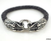 Stainless Steel Dragon Bracelet, Braided Black Leather Bracelet, Dragon Jewelry, Men's Bracelet