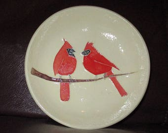 "Cardinals in Winter!  Handmade Ceramic wall hanging   5""                                              216"