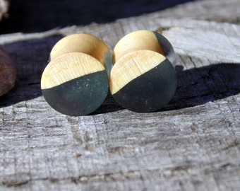 "11mm Mind Blowing  Maple burl wood set in Galaxy Grey resin ear plugs, Hand crafted unique 7/16"" gauge set of flesh plugs"