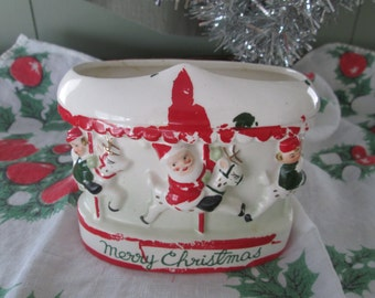 Replo Santa Planter on Merry Go Round Carousel Japan Candy Cane Holder Candy Container Vintage Holiday Vintage Glamping Country Home