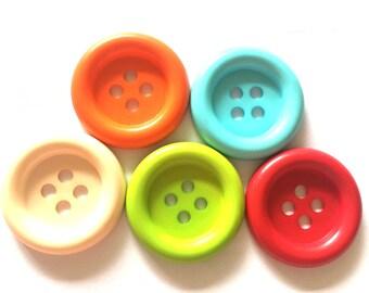 20 pcs - Big buttons - 4 hole - size 33 mm  mix color