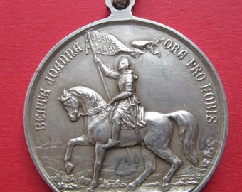 Joan Of Arc On Horse Back 900 Silver Religious Medal Antique Pope Pius X 1909 Pendant  SS53