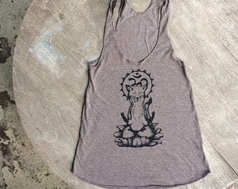 Meditating Fox / Om Fox / Yoga Tank / American Apparel Racer Back Tank for Women