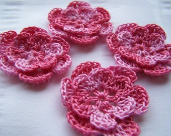 Crochet motif set of 4 flowers 1.5 inch pink parade