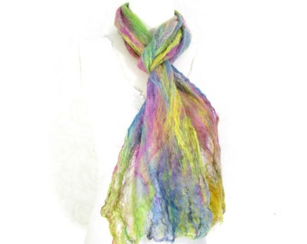Cobweb Felted Scarf Wool Scarf Winter Scarf Multicolored Scarf Long Scarf Womens Scarf Winter Fashion Accessory in Green Pink Blue Yellow