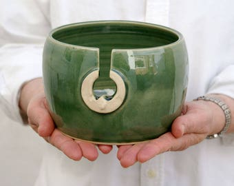 SECONDS SALE - The sun and moon hand thrown pottery yarn bowl glazed in forest green