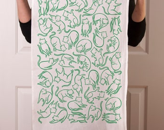 Flour sack tea towel with Floating Cats screen print in green