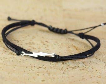 Sterling Silver lightning bolt charm bracelet. Mens bracelet