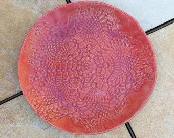 Stoneware Lace Plate 7 inch Ceramic Pink Purple