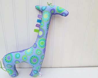 Plush Giraffe Stuffed Animal Purple Green