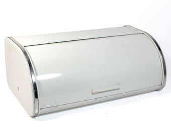 Vintage White Enamel Brabantia Bread Box