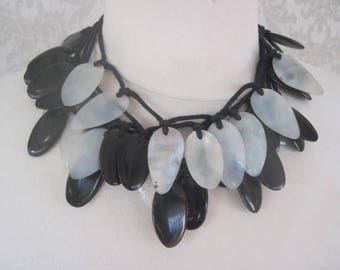 Black and White 2 Strand Necklace Vintage
