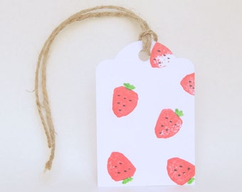 STRAWBERRY theme favour tags, gift tags, tutti frutti party, thank you tags, Strawberry favour bag tags X 10