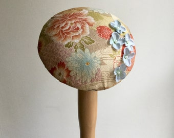 Cocktail hat, Japanese kimono fabric in gold and blue.