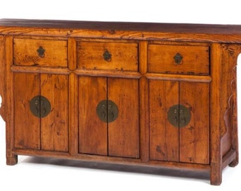 1800's Chinese Cabinet Sideboard Mortise & Tenon 16d32h66L Shipping is not free