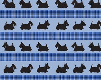 Scottish Terrier with Scottish Plaid background