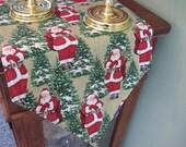 """Santa Table Runner 72"""" Reversible Old St Nick Table Runner Green and Gold Table Runner Christmas Table Runner Santa Table Decor Christmas"""