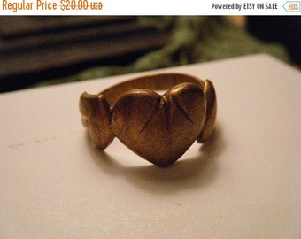 SALE Brass Humble Heart Ring Size 11