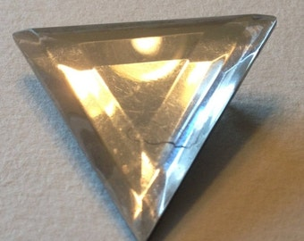 SALE Triangle Brooch Clear Plastic Reflective