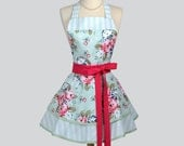 Ruffled Retro Apron - Mint Blue and Pomegranate Pink Floral and Stripes Womens Kitchen or Wedding Apron Ideal to Personalize or Monogram
