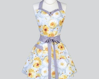 Sweetheart Retro Apron - Womens Vintage Style Elegant Yellow Gold and Grey Floral Flirty Kitchen Cooking Apron Ideal Hostess Gifts for Her