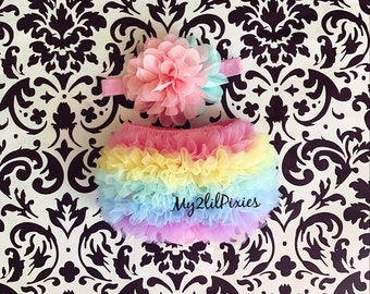 Ruffle Bum Baby Bloomer and Baby Girl Matching Headband Diaper cover, baby girl set, pastel, rainbow , baby gift, newborn photo prop