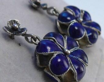 Cobalt Enamel Earrings 3D Silver Flowers Scandinavian Modern ?