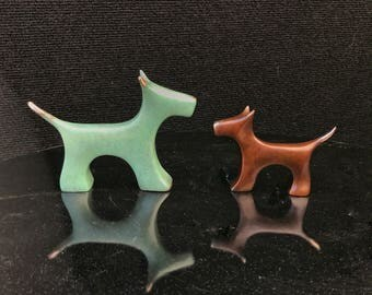 Terrier, Scottie, cairn terrier, bronze sculpture. Dog portrait, mother dog and puppy, pet urn, pet figurine pet memorial