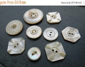 SALE Vintage Mother of Pearl Buttons Set of 9