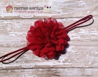 30% OFF SPRING SALE Christmas Red Flower Headband, Emma Petal, Newborn Headband, Baby Headband, Infant Headband, Photo Prop, Flower Girls, W