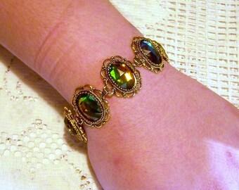 Vitrail Bracelet, Adjustable Jewel Bracelet, Victorian Florentine Filigree, Czech Glass Stones, Bold Statement Piece, Antiqued Gold, Big