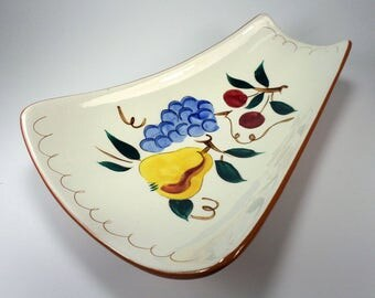 Stangl Stoneware Asparagus/Celery Tray, Fruit, Hand Painted, Grapes, Pears, Cherries, Replacement Dinnerware, Folk Art