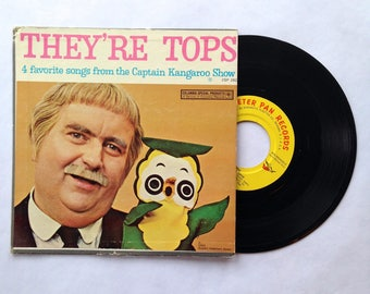 Captain Kangaroo vinyl record They're Tops 1966 Peter Pan Records 45 rpm Kids Childrens