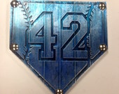 Buy one similar Home Plate Baseball # 42 Custom Foil Metal Tape Art Faux Steel Ready To Hang Mancave