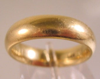 Vintage 14k YG Plain Wide Wedding Band Ring 6.5g Size 6 Comfort Fit Fine Jewelry Jewellery