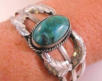 SALE ON Ends 4/30 Vintage Guad Mexico Turquoise Cuff Sterling Silver Bracelet Mexican