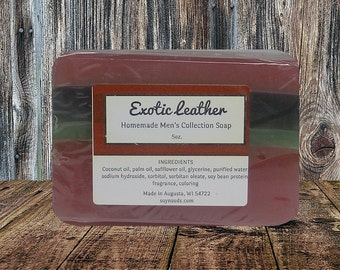 Vegan Soap ~ Bar Soap ~ Homemade Soap ~ Handcrafted Soap ~ EXOTIC LEATHER ~ Mens Soap Collection