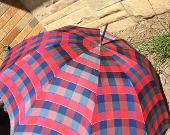 Vintage 1940's Ladies Parasol Umbrella Red Blue Plaid Stunning Metal Swirl Handle Miss George Working Condition