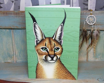 A5 Caracal Illustration Journal ~ Notebook with 48 Lined Pages