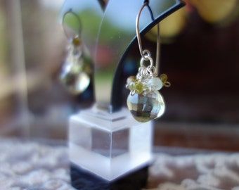 Silver green amethyst and peridot earrings