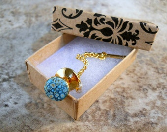 Turquoise Gold Plate Tie Tack