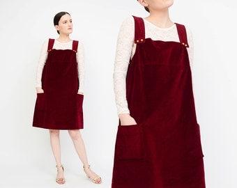 Vintage 60s Burgundy Corduroy Dress - Overalls Jumper Dress - 1960s Mod Pinafore Dress - Dark Red Mini Dress - Medium Large M L
