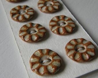 light brown/nutmeg handmade ceramic stoneware buttons