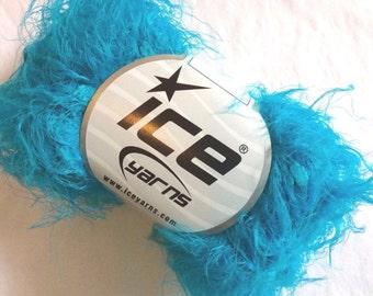 Turquoise Blue Super Soft Eyelash Yarn Blend - Ice 45223 Nylon 50 Gram 71 Yards - Sale!