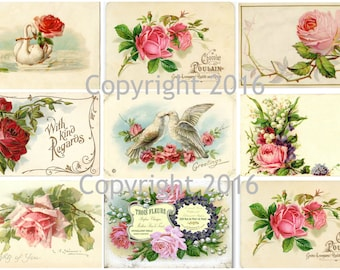 Printable French Roses Collage Sheet.  Instant Digital Download,  Flowers, Scrapbook Embellishments