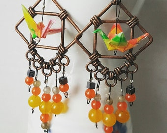 Origami crane earrings of bright paper in copper hoop with stones