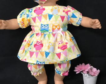 Doll Clothes for 15 Inch Dolls, Handmade to Fit Like American Girl Bitty Baby Doll,  Owls on a Banner Owl Party Banners Dress and Bloomers