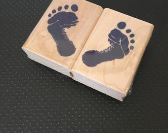 Baby Footprint Rubber Stamps - Left and Right
